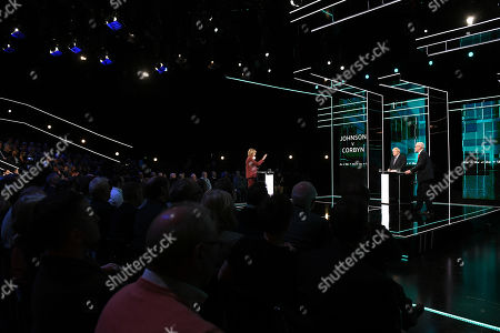 Julie Etchingham, Boris Johnson and Jeremy Corbyn during tonight's live debate (Picture available for editorial use only until December 19th 2019)