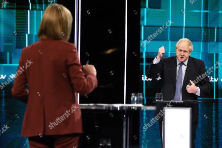 Julie Etchingham and Boris Johnson during tonight's live debate (Picture available for editorial use only until December 19th 2019)