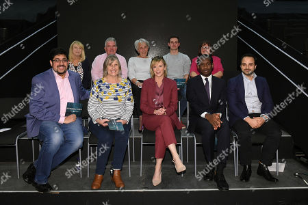 Julie Etchingham with questioners after tonight's debate in the studio (Picture available for editorial use only until December 19th 2019)