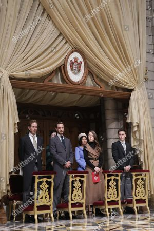 Stock Image of Andrea Casiraghi, Pierre Casiraghi, Princess Alexandra of Hanover and Louis Ducruet attend a mass at Monaco Cathedral during the celebrations marking Monaco's National Day at the Monaco Palace in Monaco, 19 November 2019.