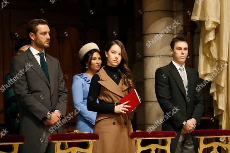 Pierre Casiraghi, Princess Alexandra of Hanover, Louis Ducruet and his wife Marie attend a mass at Monaco Cathedral during the celebrations marking Monaco's National Day at the Monaco Palace in Monaco, 19 November 2019.