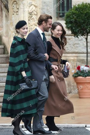 Pierre Casiraghi, Beatrice Borromeo, Princess Charlotte of Hanover. Princess Charlotte of Hanover, from right, Pierre Casiraghi and his wife Beatrice Borromeo arrive for the ceremonies marking the National Day in Monaco, Tuesday, Nov.19, 2018