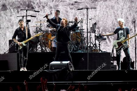 The Edge, Larry Mullen Jr, Bono and Adam Clayton from Irish rock band U2 perform at Adelaide Oval in Adelaide, Australia, 19 November 2019. The Joshua Tree Tour 2019 will see U2 return to New Zealand and Australia for the first time since 2010.