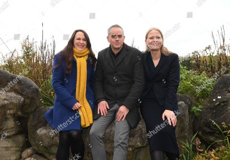Green Party Co-Leader Jonathan Bartley (C) Deputy leader Amelia Womack (L) and Co-Leader Sian Berry (R) at the Observatory, London Wetlands Centre, for the launch of the Green Party manifesto ahead of the elections in London, Britain, 19 November 2019. Britons will go to the polls in a general election on 12 December.