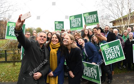 Green Party Co-Leader Jonathan Bartley (L) Deputy leader Amelia Womack (C) and Co-Leader Sian Berry (R) pose with party candidates at the Observatory, London Wetlands Centre, for the launch of the Green Party manifesto ahead of the elections in London, Britain, 19 November 2019. Britons will go to the polls in a general election on 12 December.