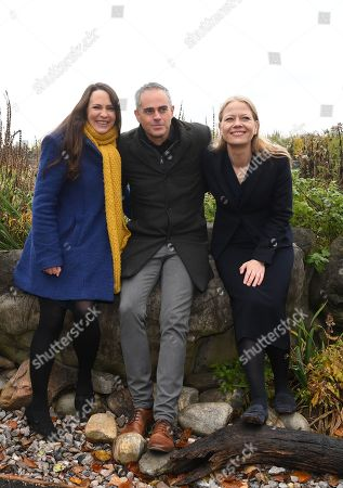 Green Party Co-Leader Jonathan Bartley (C) Deputy leader Amelia Womack (L) and Co-Leader Sian Berry (R) at the London Wetlands Centre, for the launch of the Green Party manifesto ahead of the elections in London, Britain, 19 November 2019. Britons will go to the polls in a general election on 12 December.