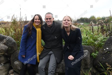 Stock Photo of Green Party Co-Leader Jonathan Bartley (C) Deputy leader Amelia Womack (L) and Co-Leader Sian Berry (R) at the London Wetlands Centre, for the launch of the Green Party manifesto ahead of the elections in London, Britain, 19 November 2019. Britons will go to the polls in a general election on 12 December.