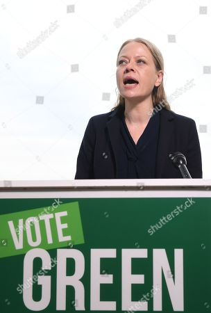 Green Party Co-Leader Sian Berry (C) delivers a speech at the London Wetlands Centre, for the launch of the Green Party manifesto ahead of the elections in London, Britain, 19 November 2019. Britons will go to the polls in a general election on 12 December.