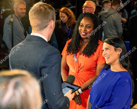 Dawn Butler and Priti Patel during an interview at tonight's debate in the 'Spin Room' (Picture available for editorial use only until December 19th 2019)