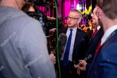 Stock Picture of Michael Gove and Andrew Gwynne during an interview at tonight's debate in the 'Spin Room' (Picture available for editorial use only until December 19th 2019)