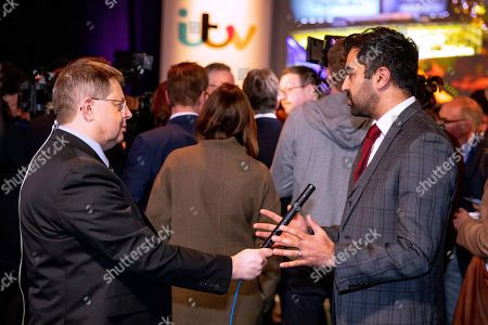 Humza Yousaf during an interview at tonight's debate in the 'Spin Room' (Picture available for editorial use only until December 19th 2019)
