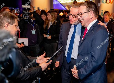 Michael Gove and Andrew Gwynne during an interview at tonight's debate in the 'Spin Room' (Picture available for editorial use only until December 19th 2019)