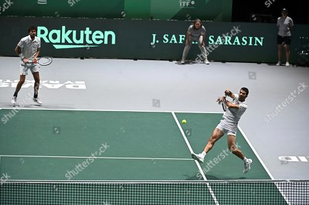 Dutch tennis players Jean-Julien Rojer (R) and Wesley Koolhof (L) in action against Kazakh Andrei Golubev and Aleksandr Nedoviesov in the group stage tie between Kazakhstan and Netherlands at Caja Magica pavilion, in Madrid, Spain, 19 November 2019.
