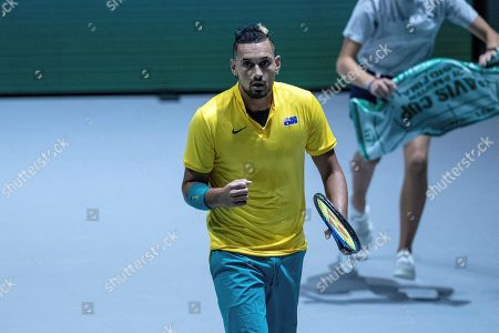 Australia's Nick Kyrgios reacts during his match against Colombia's Alejandro Gonzalez in the group stage tie between Australia and Colombia of the Davis Cup Finals tennis tournament at the Caja Magica facilities in Madrid, Spain, 19 November 2019.