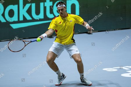 Colombia's Alejandro Gonzalez in action during his match against Australia's Nick Kyrgios in the group stage tie between Australia and Colombia of the Davis Cup Finals tennis tournament at the Caja Magica facilities in Madrid, Spain, 19 November 2019.