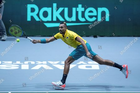 Australia's Nick Kyrgios in action during his match against Colombia's Alejandro Gonzalez in the group stage tie between Australia and Colombia of the Davis Cup Finals tennis tournament at the Caja Magica facilities in Madrid, Spain, 19 November 2019.