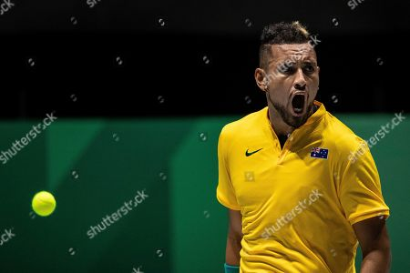 Australia's Nick Kyrgios celebrates a point against Colombia's Alejandro Gonzalez during their Davis Cup tennis match in Madrid, Spain