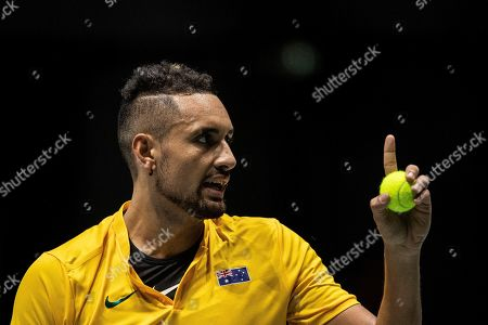 Australia's Nick Kyrgios argues during the Davis Cup tennis match against Colombia's Alejandro Gonzalez in Madrid, Spain