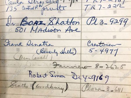 Stock Photo of Frank Sinatra listed in Marilyn Monroe's address book