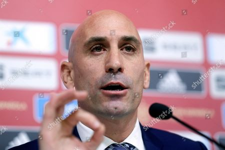 Stock Image of Luis Rubiales, president of the Spanish Royal Soccer Federation (RFEF), speaks during a press conference at Las Rozas Soccer City in Madrid, Spain, 19 November 2019. Rubiales announced the dismissal of Robert Moreno as Spanish national soccer team head coach and the return of Luis Enrique.