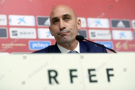 Luis Rubiales, president of the Spanish Royal Soccer Federation (RFEF), attends a press conference at Las Rozas Soccer City in Madrid, Spain, 19 November 2019. Rubiales announced the dismissal of Robert Moreno as Spanish national soccer team head coach and the return of Luis Enrique.