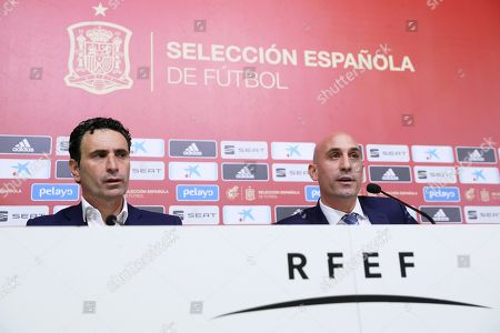 Stock Photo of Luis Rubiales (R), president of the Spanish Royal Soccer Federation (RFEF), and RFEF sports director Jose Francisco Molina (L) attend a press conference at Las Rozas Soccer City in Madrid, Spain, 19 November 2019. Rubiales announced the dismissal of Robert Moreno as Spanish national soccer team head coach and the return of Luis Enrique.