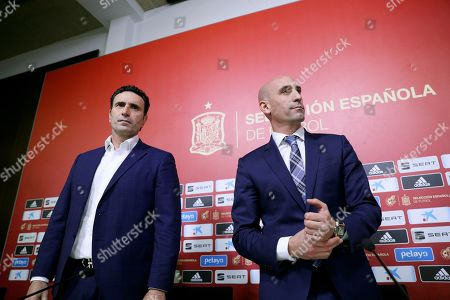 Luis Rubiales (R), president of the Spanish Royal Soccer Federation (RFEF), and RFEF sports director Jose Francisco Molina (L) attend a press conference at Las Rozas Soccer City in Madrid, Spain, 19 November 2019. Rubiales announced the dismissal of Robert Moreno as Spanish national soccer team head coach and the return of Luis Enrique.