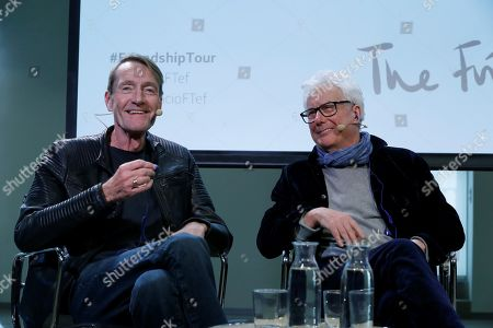 Stock Picture of British writers Ken Follet (R) and Lee Child (L) address a press conference within their anti-Brexit 'The Friendship Tour' in Madrid, Spain, 19 November 2019. This pro-European tour, led by famous authors such as Jojo Moyes, Kate Mosse, Ken Follet and Lee Child, runs from 17 to 25 November 2019.