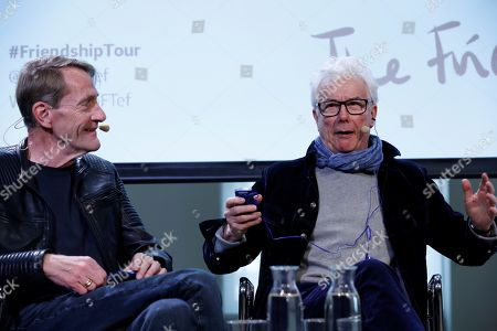 British writers Ken Follet (R) and Lee Child (L) address a press conference within their anti-Brexit 'The Friendship Tour' in Madrid, Spain, 19 November 2019. This pro-European tour, led by famous authors such as Jojo Moyes, Kate Mosse, Ken Follet and Lee Child, runs from 17 to 25 November 2019.