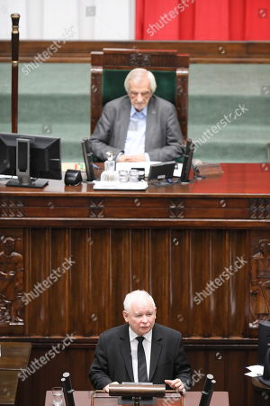 Leader of the Polish Law and Justice (PiS) rulling party Jaroslaw Kaczynski delivers a speech in Sejm (lower house) in Warsaw, Poland, 19 November 2019. The Sejm then takes a vote of confidence in the new cabinet.