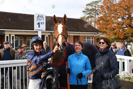 HOLD THAT TAUGHT ridden by Charlie Deutsch with Venetia Williams after winning The Guernsey Down Syndrome Group Charity Novices' Hurdle at Lingfield Park Copyright: Ian Headington/racingfotos.com