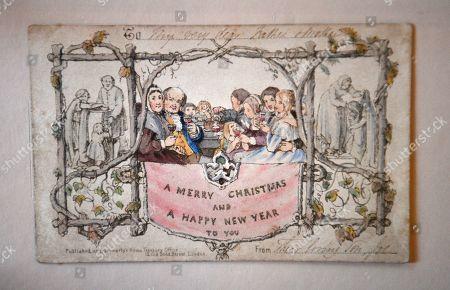Editorial photo of World's first Christmas Card, London, United Kingdom - 19 Nov 2019