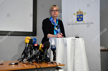 Deputy Director of Public Prosecution Eva-Marie Persson informs that the investigation concerning the suspected rape by Wikileaks founder Julian Assange has been discontinued, during a press conference in Stockholm, Sweden, 19 November 2019. Sweden prosecutors on 19 November 2019 dropped investigations into rape allegations against Julian Assange.