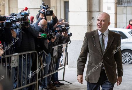 Stock Photo of Defendants Manuel Chaves, former Andalusian regional president, upon arrival at Seville Audience for the last session of the so-called ERE trial, one of the biggest corruption cases in Spain, in Seville, Andalusia, Spain, 19 November 2019. The Seville Audience sentenced six years in prison to Antonio Grinan for crimes of embezzlement and prevarication and nine years of political disqualification for prevailing to Manuel Chaves. Andalusian former regional presidents Manuel Chaves and Antonio Grinan are two of the 21 former top-rank officers of Andalusian regional government who are accused of being involved in the regional employment regulation scandal so-called ERE case. The court investigated the alleged plot for the illegal concession of public funds by means of fake labor force adjustment plans.