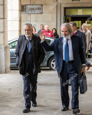 Defendant Antonio Grinan, former Andalusian regional president (L), accompanied by his lawyer Jose Maria Mohedano (R), upon arrival at Seville Audience for the last session of the so-called ERE trial, one of the biggest corruption cases in the country, in Seville, Andalusia, Spain, 19 November 2019. The Seville Audience sentenced six years in prison to Antonio Grinan for crimes of embezzlement and prevarication and nine years of political disqualification for prevailing to Manuel Chaves. Andalusian former regional presidents Manuel Chaves and Antonio Grinan are two of the 21 former top-rank officers of Andalusian regional government who are accused of being involved in the regional employment regulation scandal so-called ERE case. The court investigated the alleged plot for the illegal concession of public funds by means of fake labor force adjustment plans.