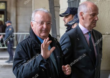 Stock Picture of Former Andalusia's employment counselor Antonio Fernandez (L) upon arrival at Seville Audience for the last session of the so-called ERE trial, one of the biggest corruption cases in the country, in Seville, Andalusia, Spain, 19 November 2019. The Seville Audience sentenced six years in prison to Antonio Grinan for crimes of embezzlement and prevarication and nine years of political disqualification for prevailing to Manuel Chaves. Andalusian former regional presidents Manuel Chaves and Antonio Grinan are two of the 21 former top-rank officers of Andalusian regional government who are accused of being involved in the regional employment regulation scandal so-called ERE case. The court investigated the alleged plot for the illegal concession of public funds by means of fake labor force adjustment plans.
