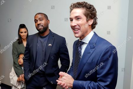 Kim Kardashian West, North West, Kanye West, Joel Osteen. From left, Kim Kardashian West, North West, Kanye West and Sr. Pastor Joel Osteen answer media questions after the 11am service at Lakewood Church, in Houston