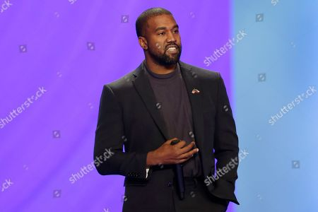 Stock Picture of Kanye West answers questions from Sr. pastor Joel Osteen during the 11 am service at Lakewood Church, in Houston