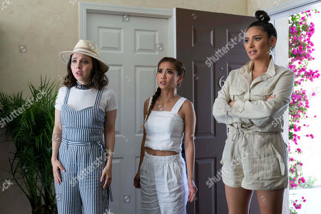 Esther Povitsky as Izzy Levine, Brenda Song as Madison Maxwell and Shay Mitchell as Stella Cole