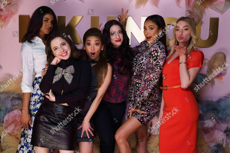 Stock Image of Vella Lovell as Alison S, Esther Povitsky as Izzy Levine, Brenda Song as Madison Maxwell, Kat Dennings as Jules Wiley, Shay Mitchell as Stella Cole and Brianne Howey as Alison B