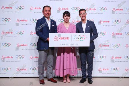 (L to R)   Airbnb Japan Yasuyuki Tanabe,  Saori Yoshida,   Brett Hasell