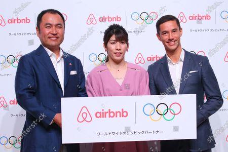 Stock Photo of (L to R)   Airbnb Japan Yasuyuki Tanabe,  Saori Yoshida,   Brett Hasell