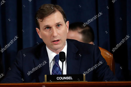 Daniel Goldman, director of investigations for the House Intelligence Committee Democrats, questions Jennifer Williams, an aide to Vice President Mike Pence, and National Security Council aide Lt. Col. Alexander Vindman (both not pictured), as they testify before the House Intelligence Committee on Capitol Hill in Washington, Tuesday, Nov. 19, 2019, during a public impeachment hearing of President Donald Trump?s efforts to tie U.S. aid for Ukraine to investigations of his political opponents. (AP Photo/Jacquelyn Martin, Pool)
