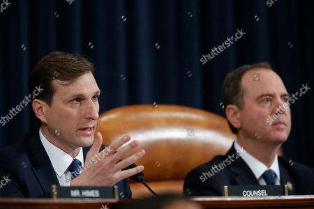 Chairman of the House Intelligence Committee Adam Schiff, D-Calif., right, listens as Daniel Goldman, left, director of investigation for the Democrats on the committee questions Jennifer Williams, an aide to Vice President Mike Pence, and National Security Council aide Lt. Col. Alexander Vindman, as they testify before the House Intelligence Committee on Capitol Hill in Washington, during a public impeachment hearing of President Donald Trump's efforts to tie U.S. aid for Ukraine to investigations of his political opponents