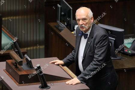 One of the far-right Confederation leaders Janusz Korwin-Mikke delivers a speech in Sejm (lower house) in Warsaw, Poland, 19 November 2019. The Sejm then takes a vote of confidence in the new cabinet.