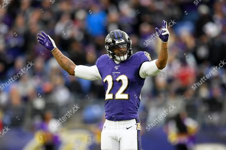 Baltimore Ravens cornerback Jimmy Smith (22) gestures during the second half of an NFL football game, in Baltimore. The Ravens won 41-7