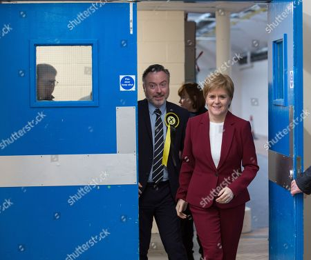 Scottish First Minister and SNP leader  Nicola Sturgeon (R) joins Alyn Smith (L), the SNP's candidate for Stirling, on the campaign trail in Stirling, Britain, 19 November 2019. British Prime Minister Boris Johnson has called a general election for 12 December 2019.