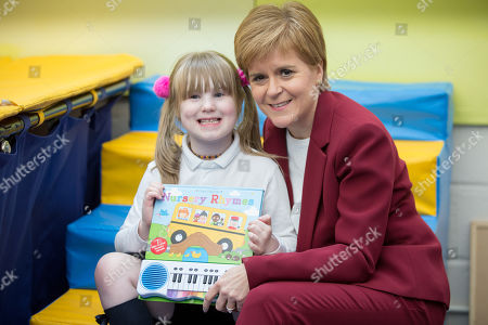 Scottish First Minister and SNP leader  Nicola Sturgeon (R) poses with Molly Monaghan (L), at bOunceT Children's activity class. during a campaign trail with Alyn Smith, the SNP's candidate for Stirling, in Stirling, Britain, 19 November 2019. British Prime Minister Boris Johnson has called a general election for 12 December 2019.