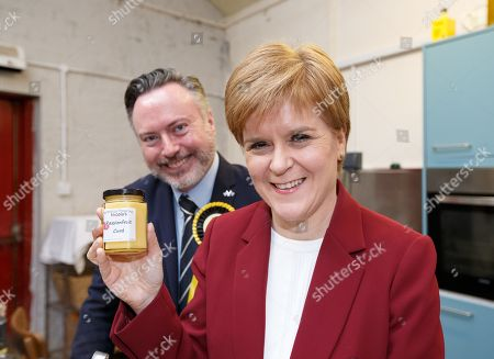 Stock Photo of Scottish First Minister and SNP leader  Nicola Sturgeon (R) joins Alyn Smith (L), the SNP's candidate for Stirling, on the campaign trail in Stirling, Britain, 19 November 2019. British Prime Minister Boris Johnson has called a general election for 12 December 2019.