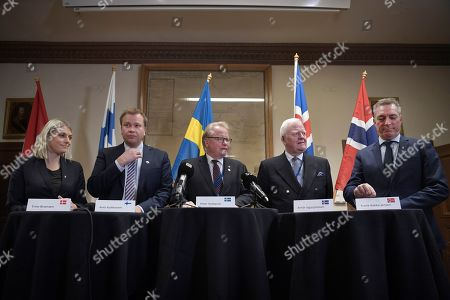 (L-R) Denmark's Minister of Defence Trine Bramsen, Finland's Minister of Defence Antti Kaikkonen, Sweden's Minister of Defence Peter Hultqvist, Director General of the Defence Directorate at Iceland's Ministry for Foreign Affairs Arnor Sigurjonsson and Norway's Minister of Defence Frank Bakke-Jensen during a press conference in connection with the Nordic defence minister meeting within the framework of the common Nordic Defence Cooperation (NORDEFCO) held in Stockholm, Sweden, 19 November 2019.